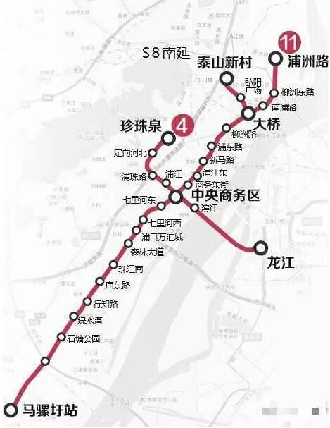 据2017年5月江苏环保公众网发布的南京地铁11号线一期工程进行第一次环境影响评价公示,11号线将分两期建成,第一期工程共计27公里,20个站点,计划2017年内开工。 11号线南起马骡圩站,北至葛塘站,全长46.1公里。 沿途规划共设27站,具体为:马骡圩、石塘公园、绿水湾、行知路、庙东路、珠江南、森林大道、浦口万汇城、七里河西、七里河东、中央商务区、商务东街、浦江东、新马路、浦东路、柳洲路、大桥、南浦路、柳洲东路、浦州路站、新化、黄家洲、九龙公园、太子山、杨村路、平顶山路、葛塘等站点。 在2017年5